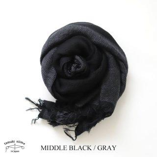 【再入荷】tamaki niime(タマキ ニイメ) 玉木新雌  きぶんシリーズ 11月 リバーシブル basic shawl MIDDLE ブラック×グレー wool70% cotton30%