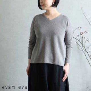 evam eva(エヴァム エヴァ) コットンペーパー Vネックプルオーバー / cotton paper V neck pullover gray(80) E201K027