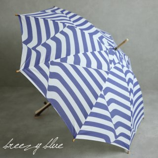 breezy blue ブリージーブルー バイカラー捺染パラソル 晴雨兼用 日傘  UV加工 長傘 ミナモ