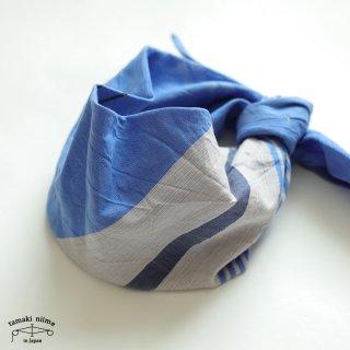 tamaki niime(タマキ ニイメ) 玉木新雌 only one あたまき むすび 39(ターバンタイプ)ブルー・ホワイト系 コットン 100% 【2点までゆうパケット可】