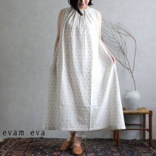 evam eva(エヴァム エヴァ)【2020ss新作】カットドビー ギャザーワンピース / cutdobby gather one-piece antique white(04)  E201T165