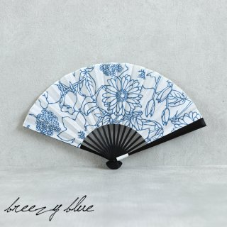 breezy blue ブリージーブルー 注染 扇子 ブルーフラワー