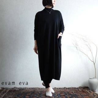 evam eva(エヴァム エヴァ) 【2020aw新作】ハイゲージウールワンピース / high gauge wool one-piece black (90) E203K115