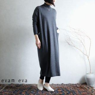 evam eva(エヴァム エヴァ) 【2020aw新作】ハイゲージウールワンピース / high gauge wool one-piece stone gray (86) E203K115