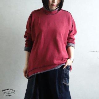 tamaki niime(タマキ ニイメ) 玉木新雌 かぶりプ 03 裏毛リバーシブルプルオーバー レッド/グレー系 コットン100%
