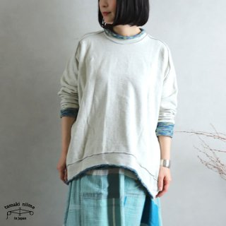 tamaki niime(タマキ ニイメ) 玉木新雌 かぶりプ 07 裏毛リバーシブルプルオーバー ホワイト/ブルー系 コットン100%