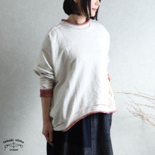tamaki niime(タマキ ニイメ) 玉木新雌 かぶりプ 09 裏毛リバーシブルプルオーバー ホワイト/レッド系 コットン100%