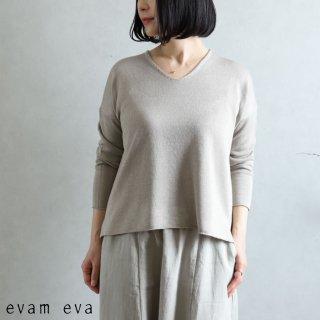 evam eva(エヴァム エヴァ) 【2021ss新作】Vネック プルオーバー / v neck pullover sage (52) E211K051