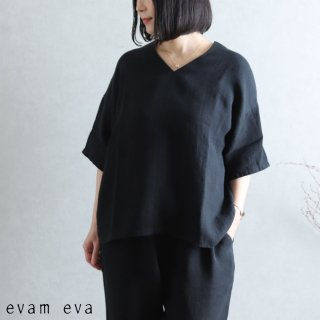 evam eva(エヴァム エヴァ) 【2021ss新作】リネンプルオーバー / linen pullover sumi (98) E211T072