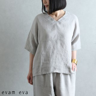 evam eva(エヴァム エヴァ) 【2021ss新作】リネンプルオーバー / linen pullover grege (14) E211T072