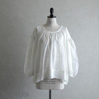BUNON(ブノン)【2021SS新作】Khadi Cotton Silk Gather Blouse オフホワイト / ギャザーブラウス BN6013