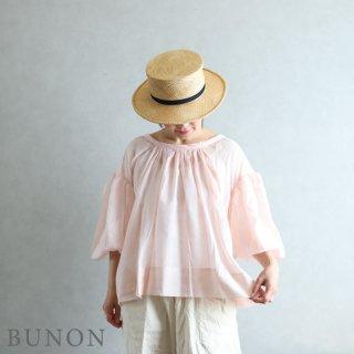 BUNON(ブノン)【2021SS新作】Khadi Cotton Silk Gather Blouse ヌードピンク / ギャザーブラウス BN6013