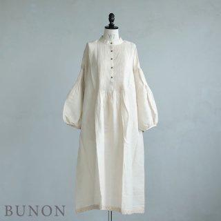 BUNON(ブノン)【2021SS新作】Pintuck Dress / 刺繍入りピンタックドレス  ベージュ BN6026