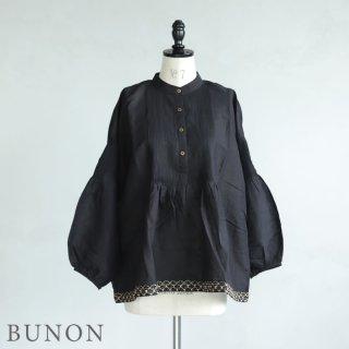 BUNON(ブノン)【2021SS新作】Pintuck Blouse / 刺繍入りピンタックブラウス ブラック BN5024