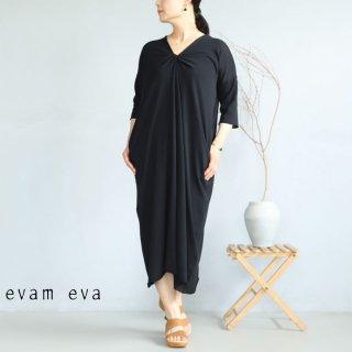 evam eva(エヴァム エヴァ) 【2021ss新作】ツイストワンピース / twist one-piece black (90) E211K115