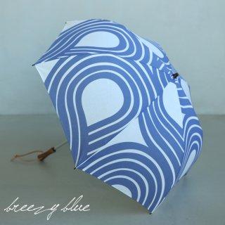 breezy blue ブリージーブルー バイカラー捺染パラソル 晴雨兼用 日傘  UV加工 折りたたみ日傘 ウズマキ