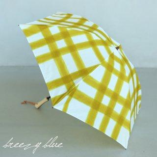 breezy blue ブリージーブルー 晴雨兼用日傘 防水 UV加工 手捺染 パラソル 折りたたみ傘 check yellow