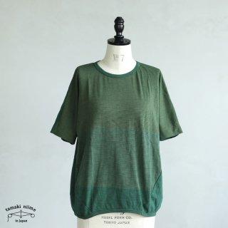 tamaki niime(タマキ ニイメ) 玉木新雌 maru t HALF SLEEVES サイズ2 37 グリーン系 cotton100% マル T 半袖 コットン100%