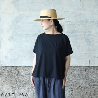 evam eva(エヴァム エヴァ) 【2021ss新作】カットソーショートスリーブ プルオーバー / cut&sew short sleeve pullover sumi (98) E211C138