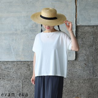 evam eva(エヴァム エヴァ) 【2021ss新作】カットソーショートスリーブプルオーバー/cut&sew short sleeve antique white (14) E211C138