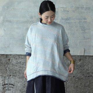 tamaki niime(タマキ ニイメ) 玉木新雌 かぶりプ 21 裏毛リバーシブルプルオーバー グレー / ブルー系 コットン100%