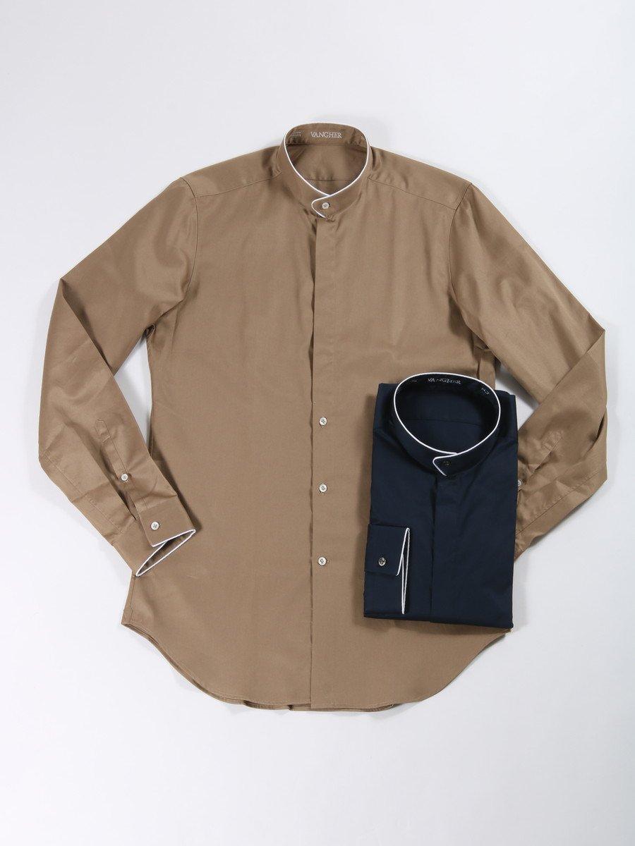 【VANGHER】<br>パイピングスタンドカラーシャツ