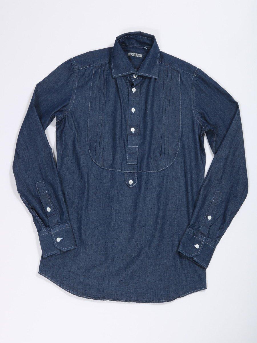 【NAKED】<br>シャンブレープルオーバーシャツ