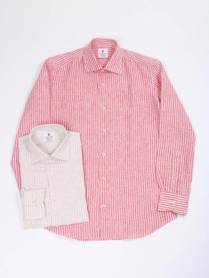 【Cordone 1956】<br>リネンストライプセミワイドカラーシャツ