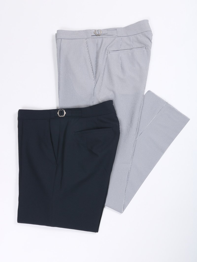 【The Chino Revived】<br>2WAYストレッチシアサッカーノープリーツパンツ