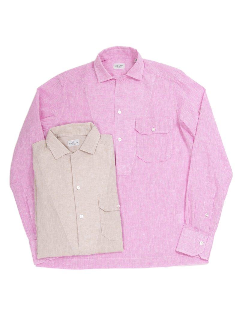 【BAGUTTA】<br>オープンカラープルオーバーシャツ