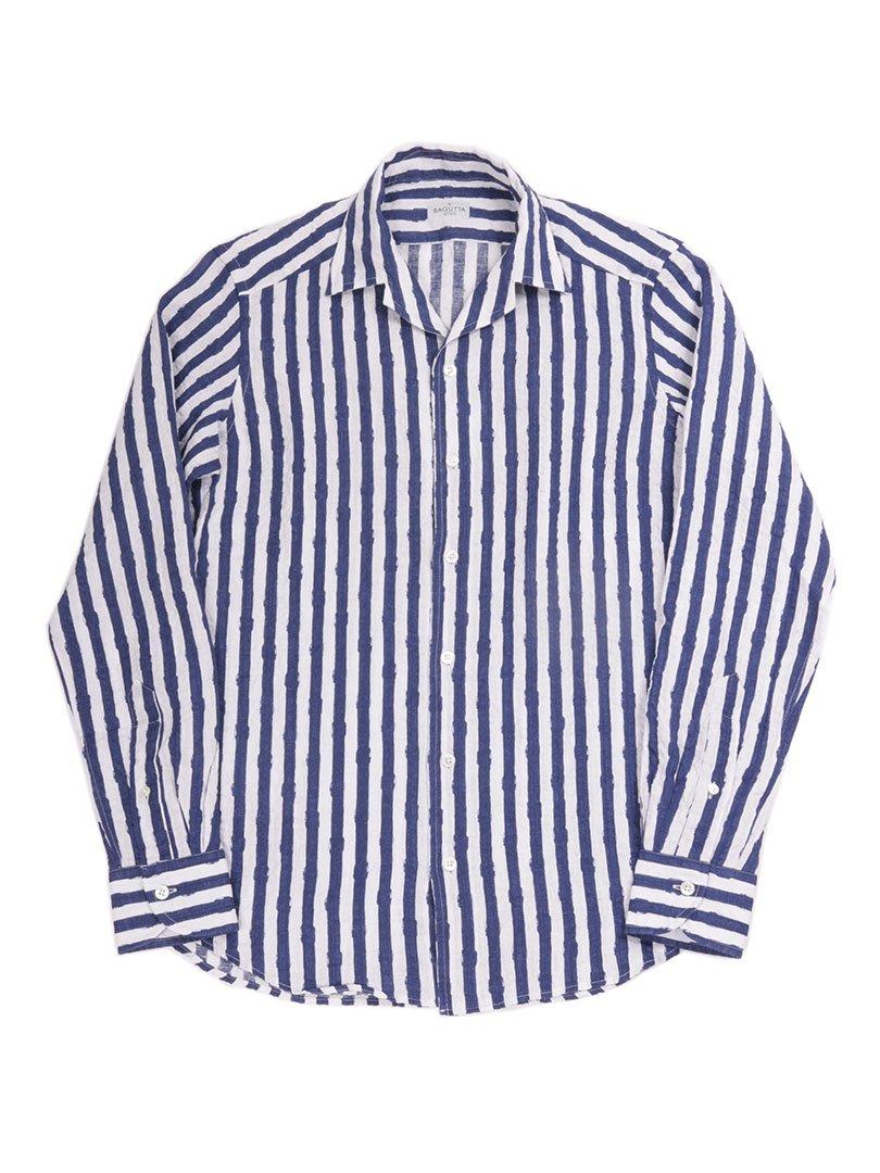 【BAGUTTA】<br>リネンストライプオープンカラーシャツ