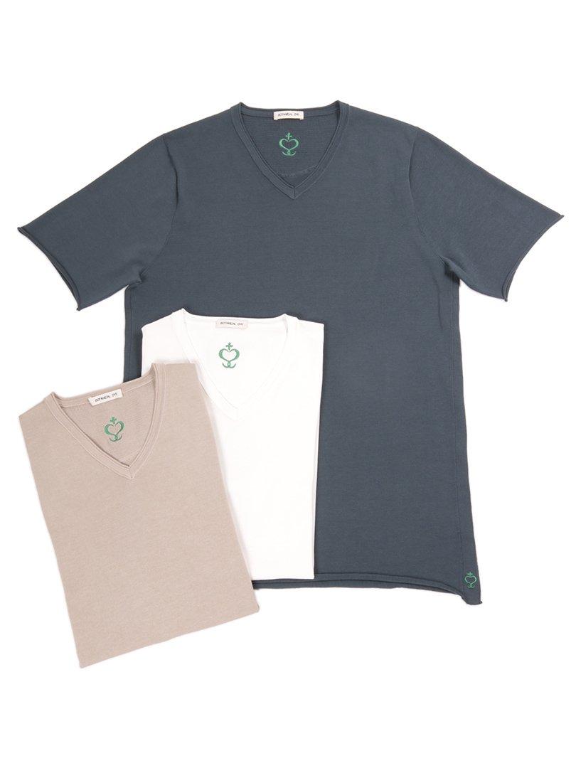 【SIDE SLOPE】<br>ボタニカルダイVネックニットTシャツ