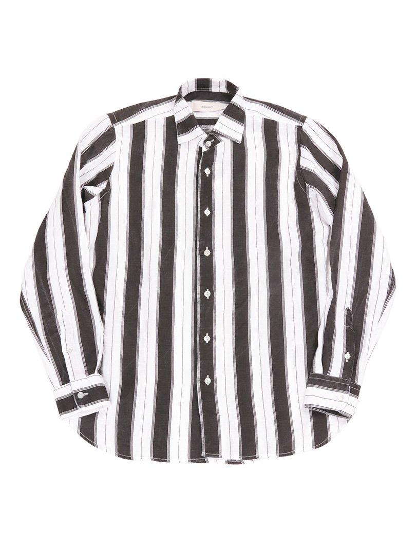 【dickson】<br>リネンストライプワンピースカラーシャツ
