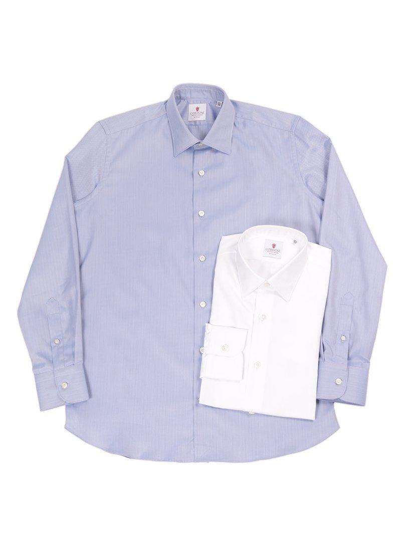 【Cordone 1956】<br>ヘリンボーンレギュラーカラーシャツ