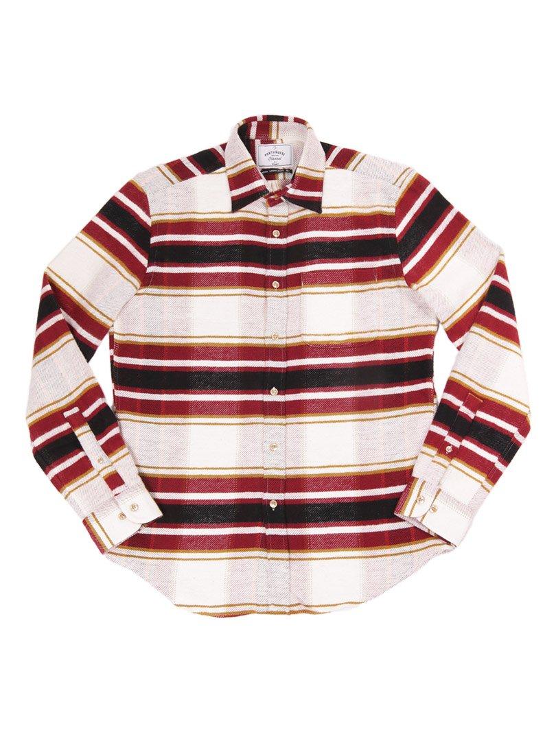 【Portuguese Flannel】<br>BURGUNDY STRIPE フランネルシャツ