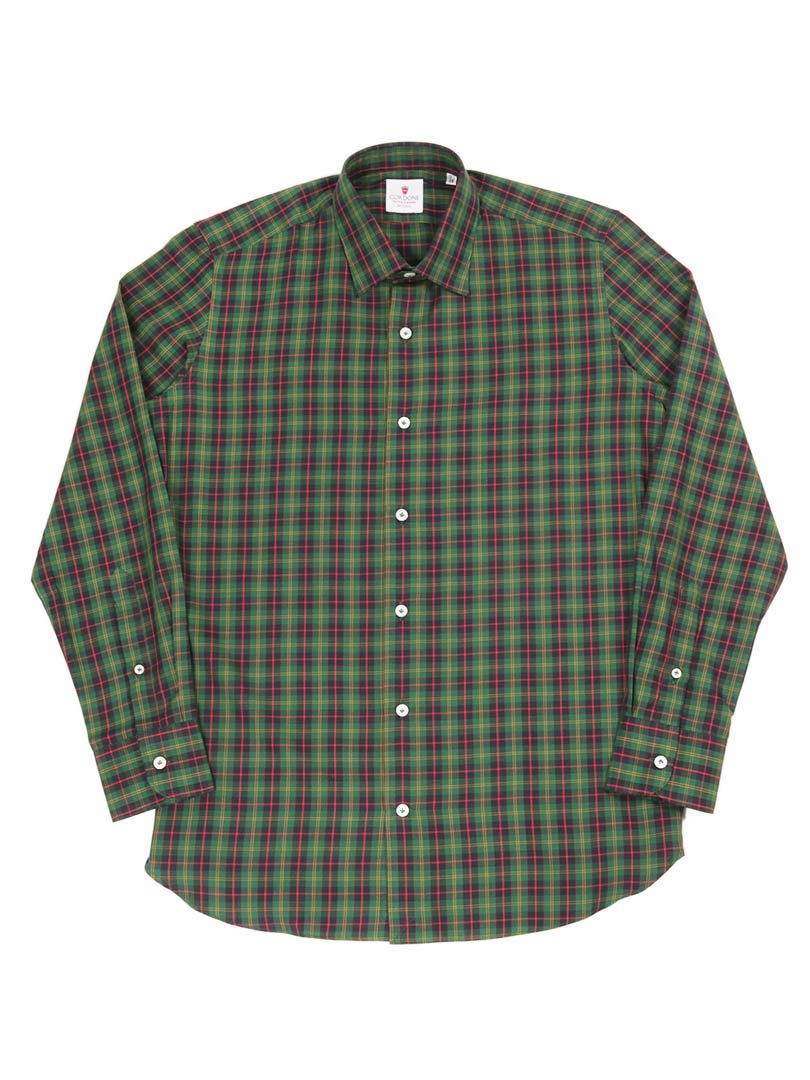 【Cordone 1956】<br>タータンチェックレギュラーカラーシャツ
