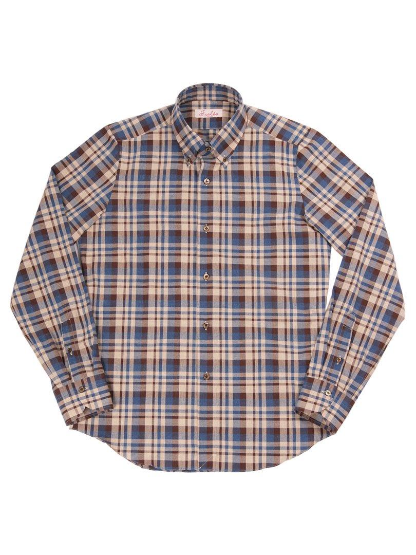 【Fralbo】<br>チェックボタンダウンシャツ