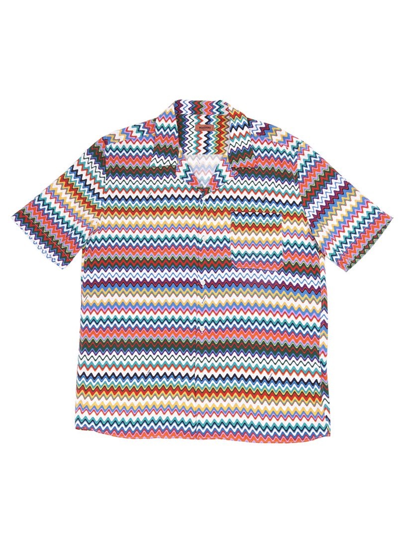 【MISSONI】<br>シェブロン柄オープンカラーシャツ