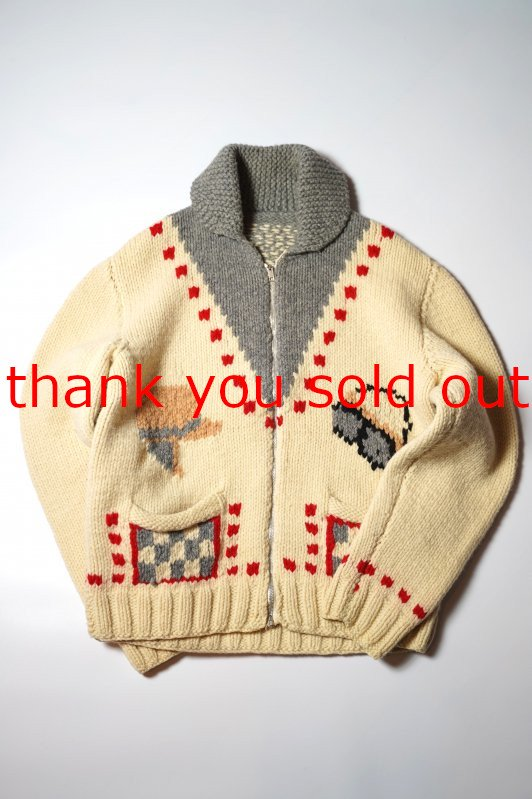 60's Unknown Cowichan wool knit Sweater Motorcycle