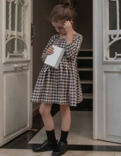 30%OFF minimom Alicia Dress Brown Gingham (アリシアドレス)