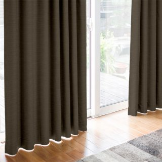 【遮光カーテン】遮光1級/遮熱/防炎機能付 出窓もOKのおしゃれなオーダーカーテン <Hifumi - 黒鳶色> ブラウン