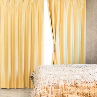 【遮光カーテン】遮光1級/遮熱機能付 出窓もOKのおしゃれなオーダーカーテン <malmi - 琥珀> イエロー
