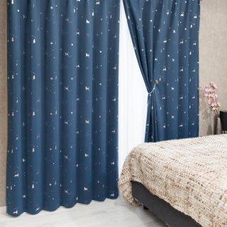 猫柄のプリントが可愛い 遮光1級【ステラキャット】ネイビー おしゃれなインテリアにおすすめの国産オーダーカーテン 寝室や出窓、カフェカーテンにも◎