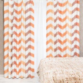 人気のプリントカーテン 遮光2級【テット】オレンジ おしゃれなインテリアにおすすめの国産オーダーカーテン 寝室や出窓、カフェカーテンにも◎