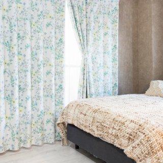 【花柄カーテン】ナチュラルカントリー調の可愛いデザイン 遮光2級付 <リバティ ブルー>