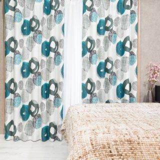 スウェーデン調のモダンなプリント 遮光2級【プーレア】ブルー おしゃれなインテリアにおすすめの国産オーダーカーテン 寝室や出窓、カフェカーテンにも◎