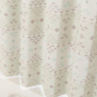 【可愛いプリントカーテン】カントリー調のおしゃれなデザイン 遮光2級付 <スクアマ ブルー>