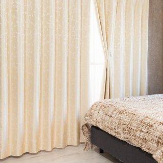 【遮光カーテン】多機能付のおしゃれなカーテン 遮熱/保温/防音/遮光1級 <フォリア イエロー>