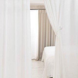 【ストライプ柄レースカーテン】遮熱/保温/遮像/UVカット/花粉キャッチ <カミラ>