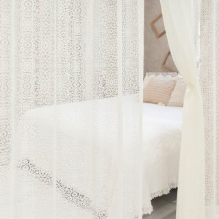 【編みレースカーテン】可愛くて風通しも良いおしゃれなデザイン <メルク>